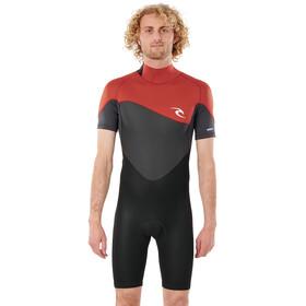 Rip Curl Omega SS Back Zip Spring Suit Men, negro/rojo